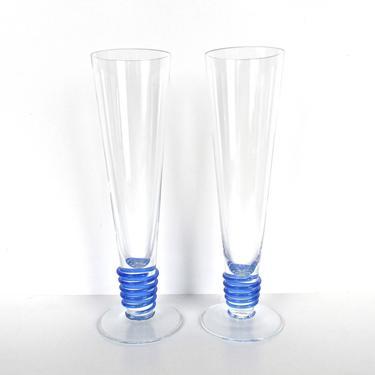 """Set Of 2 Block Crystal Champagne Toasting Flutes, 10"""" Modern Blue Stem Champagne Wedding Celebration Glasses, Post Modern Glasses by HerVintageCrush"""