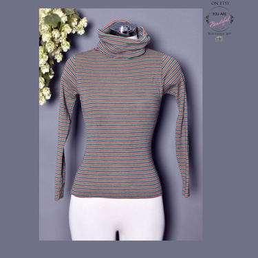 70's Turtleneck Striped Vintage Sweater, Pullover 1970's Boho Hippie Disco Era Top Shirt Blouse, Long Sleeve Fitted by Boutique369