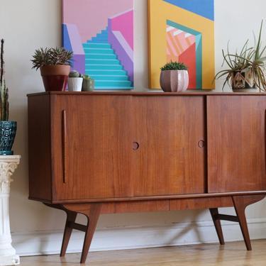 Mid Century Danish Modern Splayed Leg Bar Cabinet by SharkGravy