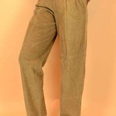 Vintage Camel Brown Corduroy Pleated High Rise Trousers by MAWSUPPLY