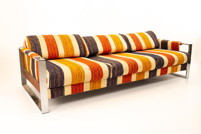 Adrian Pearsall Mid Century Chrome and Wood Sofa - mcm by ModernHill