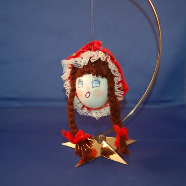 Vintage Hand Made American Folk Art Blown Egg Little Girl w Red Ribbon Tied Brown Pigtails & Red Granny Hat Christmas Ornament Signed RJ '80 by YesterdayAndTomorrow
