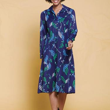 shirt dress leaf print long sleeves navy blue green vintage 70s MEDIUM LARGE M L by shoprabbithole
