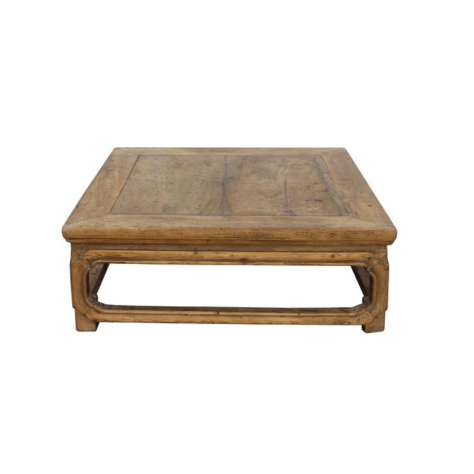 Chinese Rustic Vintage Square Raw Wood Top Kang Coffee Table cs5493S
