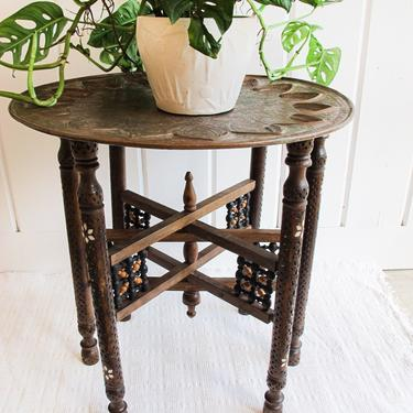 Vintage Hand Carved Wood Folding Table Base with inlay and Mixed Metal Copper Top Tray by PortlandRevibe