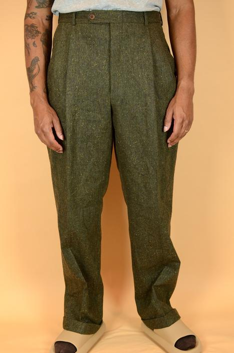 Vintage Union Made Donegal Wool Pleated High Waist Trousers Dress Pants 36x32 37x32 36 37 by MAWSUPPLY