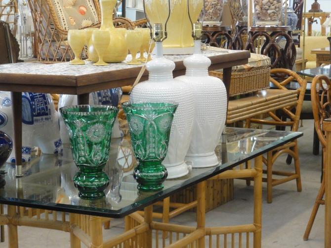 Pair of Emerald Green Cut Crystal Vases
