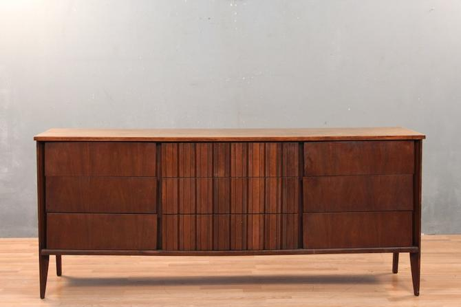 Mid Century Ridged Walnut 9-Drawer Dresser – ONLINE ONLY