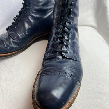 Stacy Adam's~ men's Vintage lace-up ankle boots~ blue leather~ Edwardian Victorian inspired size 9 D by HattiesVintagePDX