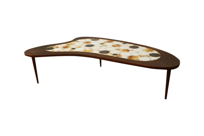 Mid Century Mosaic Tile Top Kidney Shaped Coffee Table by Marykaysfurniture