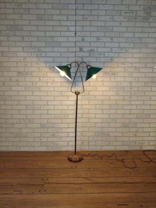 Art Deco Lilypad Double/2 Light Enamal Green Shade Floor Lamp by RedsRustyRelics