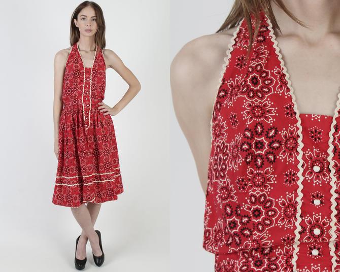 Red Western RicRac Dress / Vintage 50s Square Dancing Dress / 1950s Handkerchief Hanky Print / Ric Rac Full Skirt Retro Barn Mini Dress by americanarchive