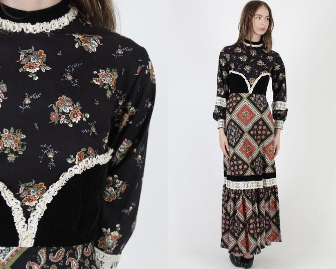 Vintage 70s Black Calico Floral Dress / Black Velvet Bustier / Diamond Print Lined Skirt / Renaissance Fair Argly Bouquet Maxi Dress by americanarchive