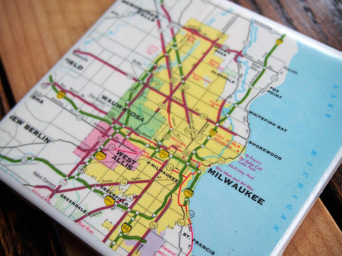 1979 Milwaukee Wisconsin Handmade Repurposed Vintage Map Coaster - Ceramic Tile - Repurposed 1970s Rand McNally Atlas - Actual Map Used by allmappedout
