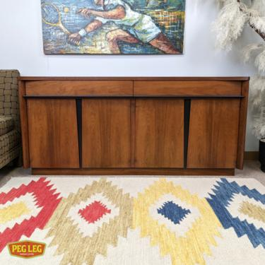 Mid-Century Modern walnut credenza with black details by American of Martinsville