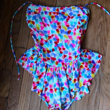 90s Rainbow One Piece SwimSuit with Ruffles by Ferngodvintage