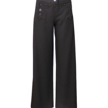 KAUFMANFRANCO-Black Wool Sailor Pants, Size-10