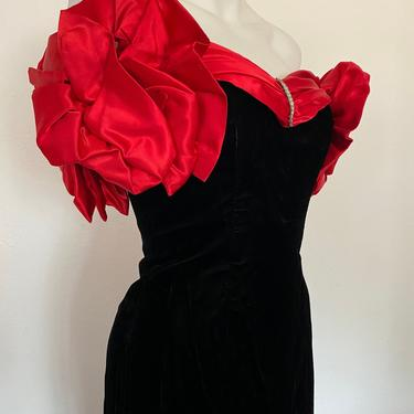 Vintage RED PROM DRESS, heavily embellished rhinestone neckline puffed sleeves, cocktail party dress, gala formal party dress size small by RETROSPECTNYC