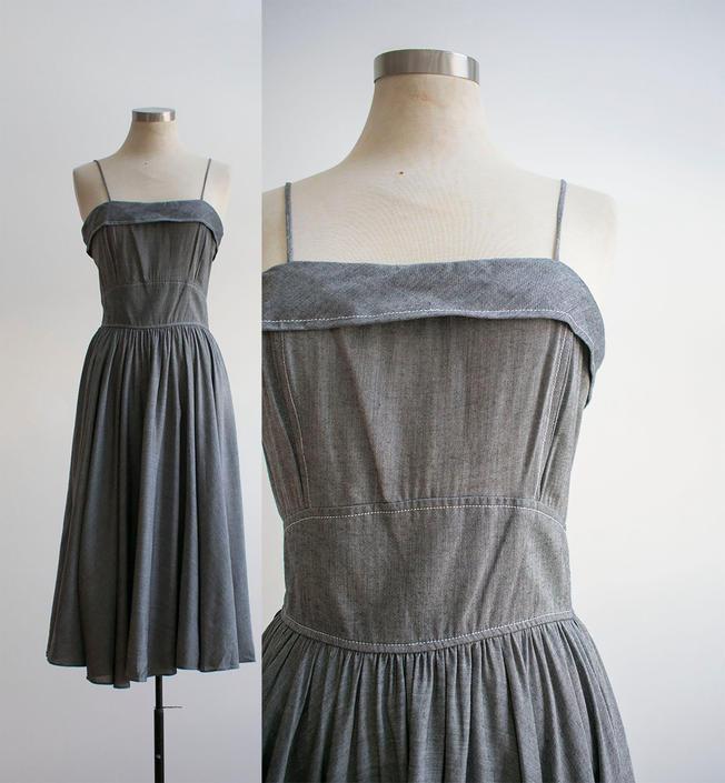Vintage Summer Dress / Gray Linen Dress / Cute Day Dress / Vintage Day Dress / Vintage Linen Dress Small by milkandice