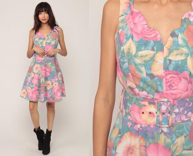 f4c9474e36b Garden Party Dress Floral Dress Mini 80s Sun High Waist BELTED Boho Full  Skirt Pinup Vintage