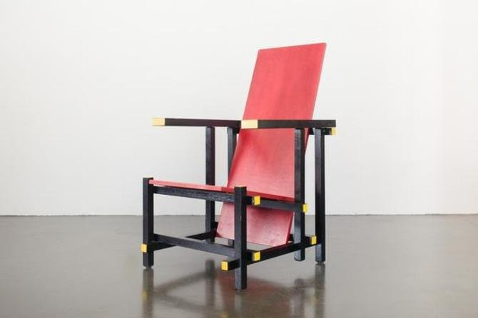 De Stijl Red and Blue Chair by HomesteadSeattle