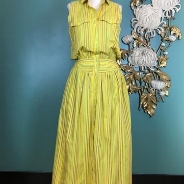 1980s blouson dress, vintage 80s dress, liz Claiborne, size medium, pin striped, yellow cotton dress, yoked waist, 28 waist, pockets, summer by BlackLabelVintageWA