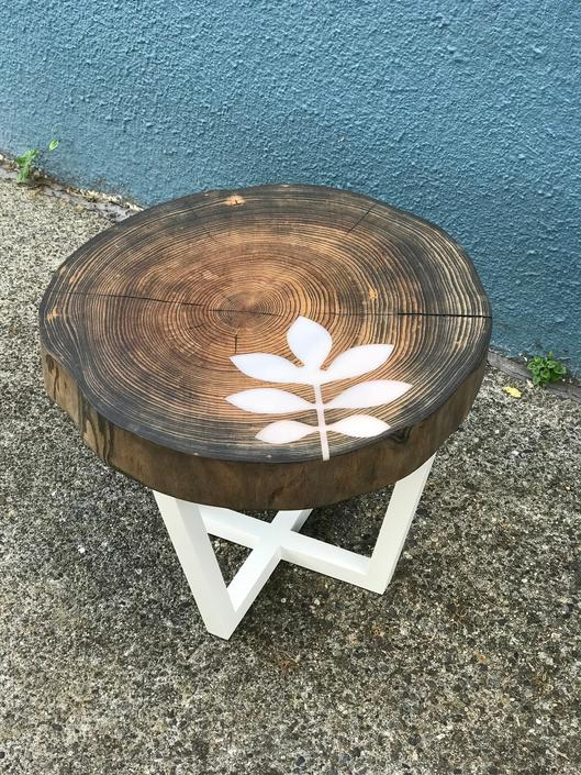 Ash Wood Slab Table Accent Table Resin Furniture Inlay