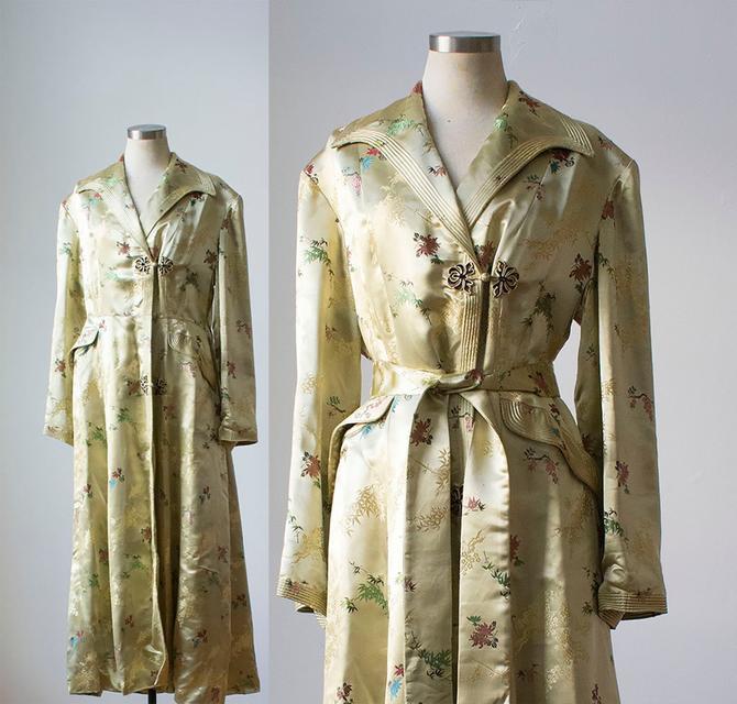 Vintage Silk Robe / Asian Silk Robe / Pale Yellow Robe / Heavyweight Silk Jacket / Asian Duster / Silk Duster / Silk Jacket / Bamboo by milkandice