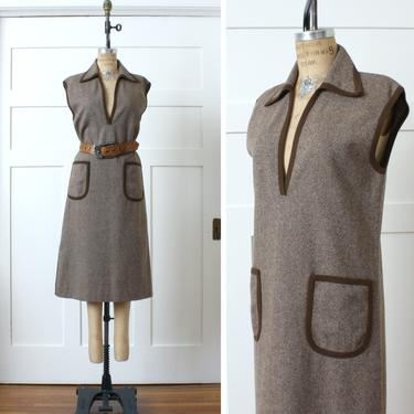 vintage 1970s wool jumper dress • brown tweed shift with oversized pockets & big collar by LivingThreadsVintage