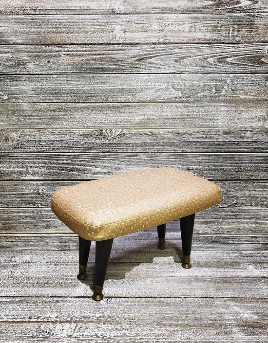Vintage 1960's Footstool, Mid Century Modern Vinyl Stool, Textured Gold Footstool, Vintage Home Decor, Foot Rest Stool, Vintage Furniture by AGoGoVintage