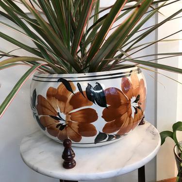 Planter Pot Vintage Ivory Tonala Mexico Planter Indoor plant drainage hole by VintageCoreReStore