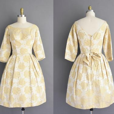 1950s vintage dress | Gorgeous Beige floral Silk Satin Full Skirt Cocktail Party Bridesmaid Wedding Dress | Medium | 50s dress by simplicityisbliss
