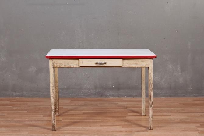 Red & White Enamel-Top 1-Drawer Farm Table