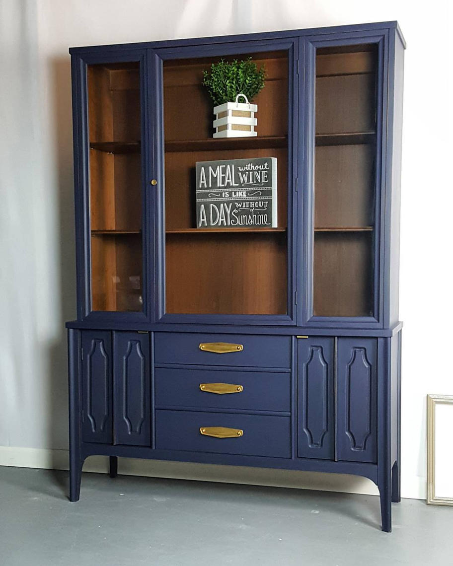 Mid Century China Cabinet Hutch Buffet By Uniquebyruth