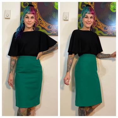 Vintage 1960's Teal Wool Pencil Skirt by SurrealistVintage