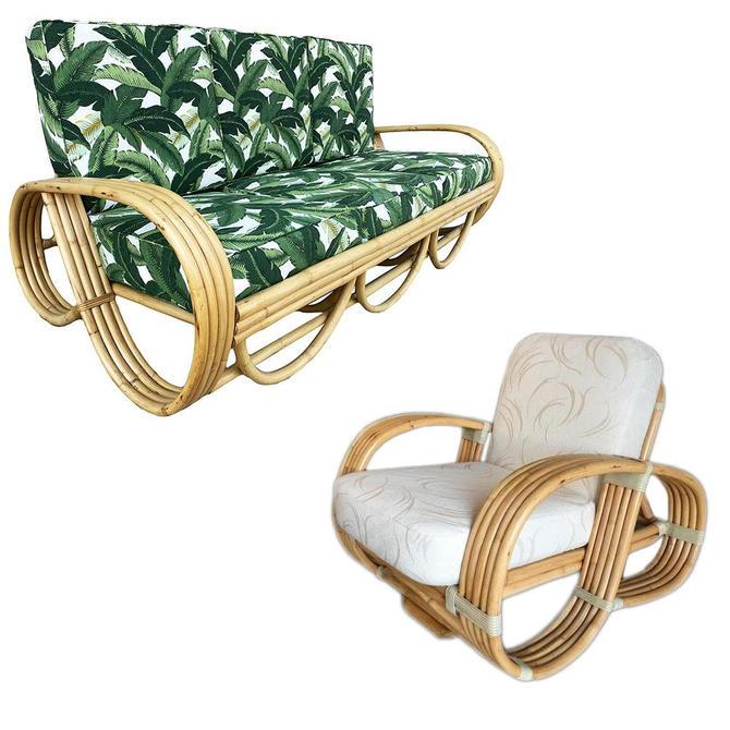 Restored Mid Century Reverse Pretzel Rattan Sofa and Lounge Chair Set by HarveysonBeverly