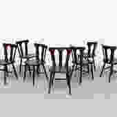 Mid-Century Brutalist Farm Chairs with Arch Cut-Outs