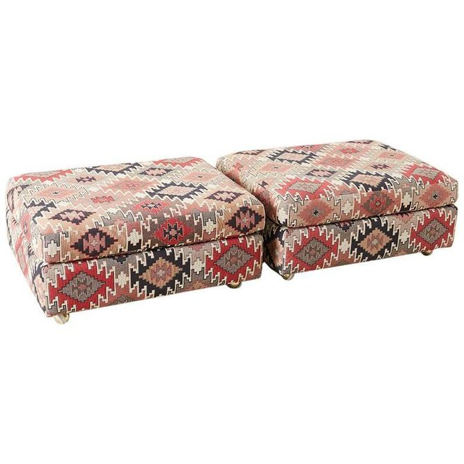 Pair of Geometric Kilim Style Upholstered Ottomans by ErinLaneEstate