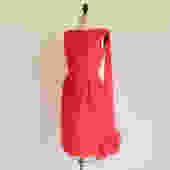 """Vintage 1960's Red Silk Chiffon Party Wiggle Dress Ostrich Feather Wrap Sleeveless Sheath Style Evening Cocktail Chumley 27"""" Waist Small by seekcollect"""