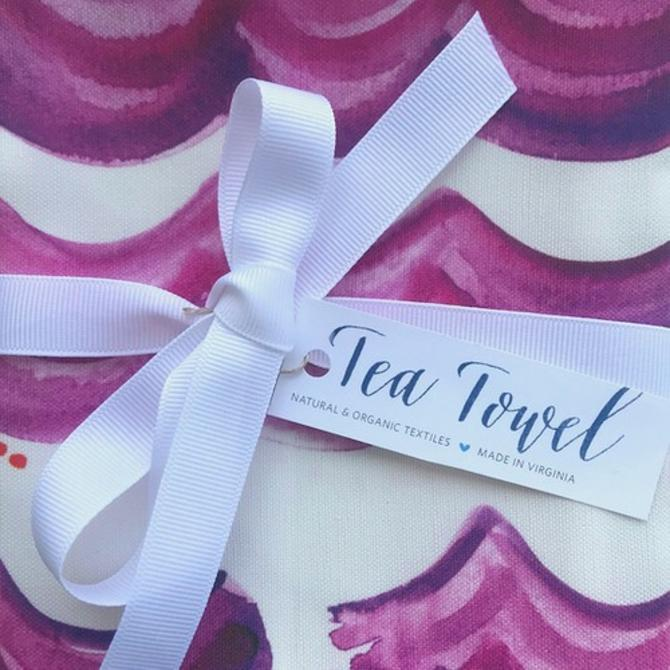 Radiant Orchid Waves Tea Towel