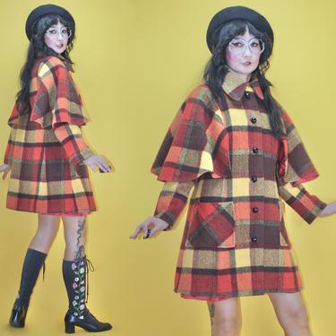 Vintage 1960s 60s MOD Red Plaid Caplet Coat by Juli de Rome /SZ S/1970s 70s Glam Boho Tartan Check Cape Shoulder Jacket Pocket Wool Collage by TheeAppleBoutique