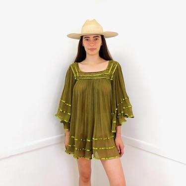 Sage Mini Dress // vintage 70s 1970s boho cotton green crochet tunic blouse top shirt hippie Mexican gauze // O/S by FenixVintage