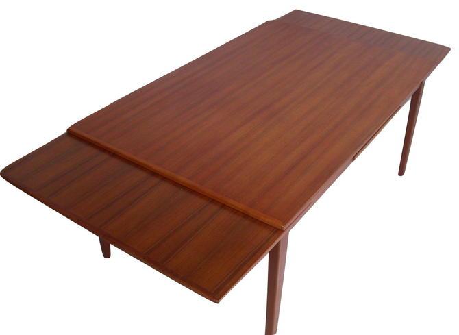 "Skovby Danish Modern Teak Pull Draw Leaf Dining Table 61"" to 102"" NEAR MINT"