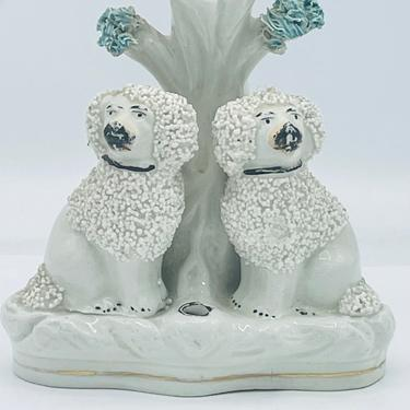"""Antique Staffordshire Confetti Poodle Dog Spill Vase w/ Quill holder figural Group  4  3/4"""" by JoAnntiques"""