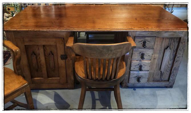 Antique Oak Partner's Desk, with partnering chairs (available separately or bundled), Local Aldie VA Pickup/SHIPPING/Delivery EXTRA by RustandRefind