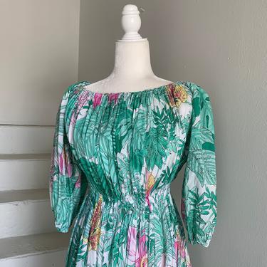 "1970s Off the Shoulder Anthurium Botanical Print Cotton Voile Dress Elastic Waist Summer Dress 38"" bust by AmalgamatedShop"