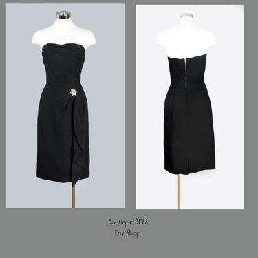 1950's Marilyn Monroe Style Little Black Vintage Evening Dress - Party Dress, Cocktail Dress, Strapless Prom Dress, SIZE: Medium by Boutique369