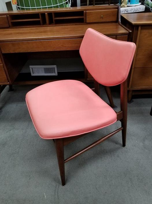 Mid-Century Modern Walnut chair with coral vinyl upholstery