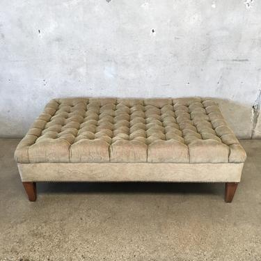 Oversize Ottoman Tufted Upholstered in Olive Paisley Velvet