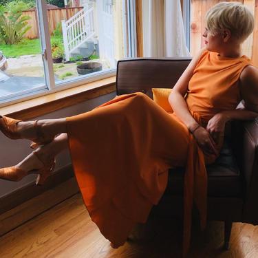 Kate Hepburn Debates - Vintage 1930s Pumpkin Silk Crepe Dress w/Ruffle Back Skirt Detail - 2/4 by RoadsLessTravelled2